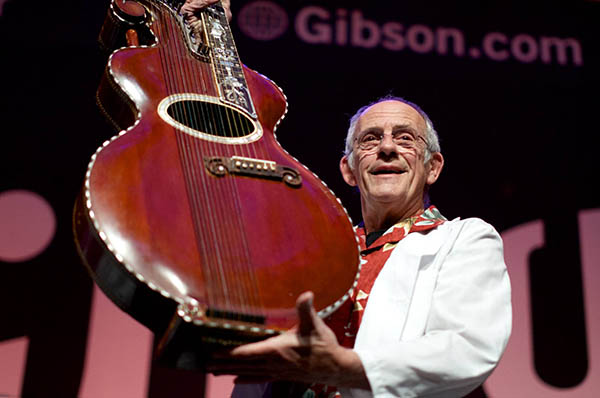 Gibson CES and Christopher Lloyd with harp guitar