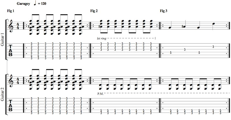 Tablature Writing for Two Guitars