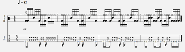 Syncing Bass and Drums notation