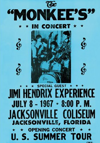 Monkees & Jimmy Hendrix Experience flyer