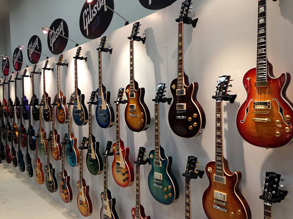 Gibson NAMM 2014 wall of guitars