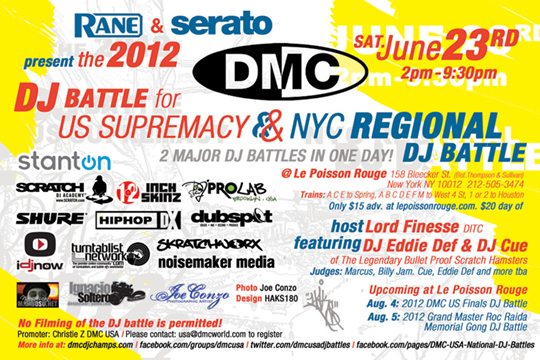 DMC NYC Regional DJ Battle + DMC Battle for US Supremacy Battle