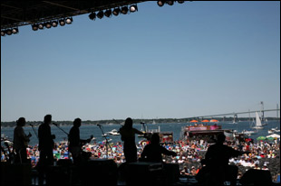 The view of the horizon from onstage at the Newport Folk Festival