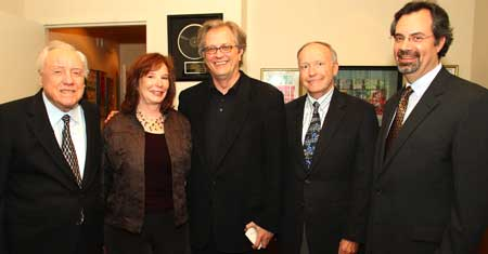 Pictured (L-R): Earl Scruggs, Denise Stiff, Museum Dir. Kyle Young, Gibson Guitar Corp. Pres. David Berryman and VP Museum Programs Jay Orr.