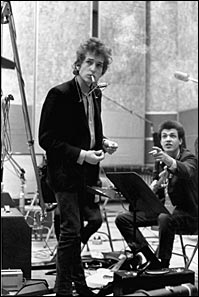 "Bob Dylan and Mike Bloomfield recording ""Like a Rolling Stone"""