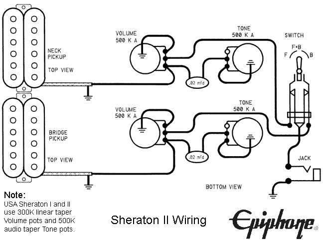 original gibson epiphone guitar wirirng diagrams rh guitarelectronics com epiphone thunderbird bass wiring diagram Yamaha Bass Guitar Wiring Diagram
