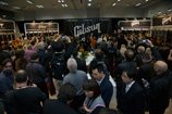 Fighting through the crowd in the packed Gibson booth to see rock and roll legend Brian Wilson.