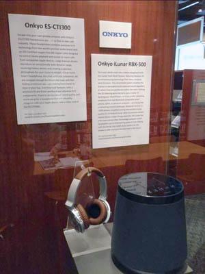 Onkyo ES-CTI300 headphones and Onkyo iLunar RBX-500 speaker display booth up-close