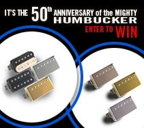 Enter for a chance to win a pair of '57 Humbuckers and a pair of Burstbucker pickups from Gibson Gear.