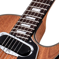 and a carved grade-aa figured maple top  it has a glued-in mahogany  neck with a '60s slim taper™ profile, rosewood fingerboard with 22  cryogenic-treated
